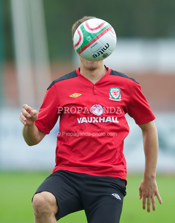 NEWPORT, WALES - Wednesday, August 31, 2011: Wales' captain Aaron Ramsey during a training session at the Newport Stadium ahead of the UEFA Euro 2012 Qualifying Group G match against Montenegro. (Pic by David Rawcliffe/Propaganda)