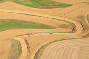 Aerial view of harvested farm fields in northeast Iowa.