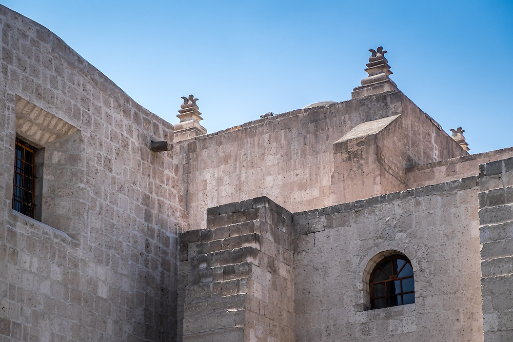 AREQUIPA, PERU - CIRCA APRIL 2014: Exterior walls of the San Francisco Monastery in Arequipa. Arequipa is the Second city of Perú by population with 861,145 inhabitants and is the second most industrialized and commercial city of Peru.