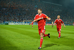 MARSEILLE, FRANCE - Tuesday, September 16, 2008: Liverpool's captain Steven Gerrard MBE celebrates scoring the equalising goal against Olympique de Marseille during the opening UEFA Champions League Group D match at the Stade Velodrome. (Photo by David Rawcliffe/Propaganda)