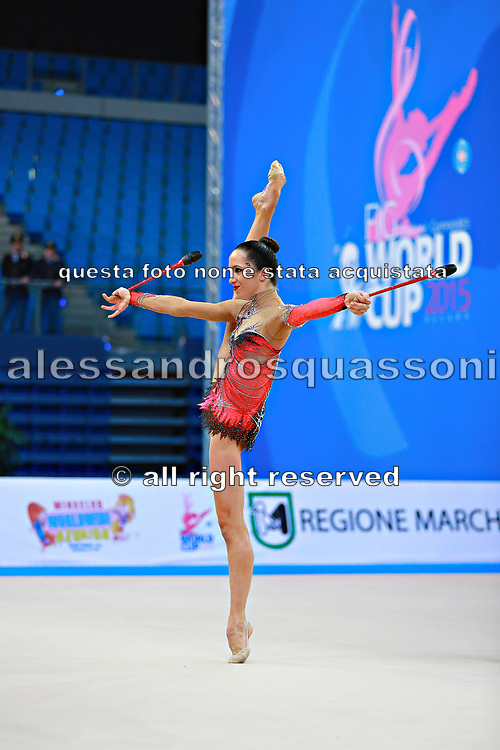 Neta Rivkin during qualifying at clubs in Pesaro World Cup at Adriatic Arena on 11 April 2015. Neta was born on June 23, 1991 in Petah Tiqwa Israel. <br /> She is one of Israel's most successful rhythmic gymnasts.