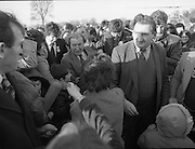 Charles Haughey Campaigning in Tullamore/Portlaioise.14/02/1982  Mr C.J.Haughey on the campaign trail in the Tullamore / Portlaoise constituency 1982