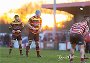 Carmarthen Quins replacement Shaun Jones in the setting sun.<br /> <br /> Photographer: Dan Minto<br /> <br /> Indigo Welsh Premiership Rugby - Round 12 - Llandovery RFC v Carmarthen Quins RFC - Saturday 28th December 2019 - Church Bank, Llandovery, South Wales, UK.<br /> <br /> World Copyright © Dan Minto Photography<br /> <br /> mail@danmintophotography.com <br /> www.danmintophotography.com