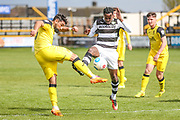 Forest Green Rovers Dale Bennett(6) challenges Southport's Rory McKeown(23) during the Vanarama National League match between Southport and Forest Green Rovers at the Merseyrail Community Stadium, Southport, United Kingdom on 17 April 2017. Photo by Shane Healey.
