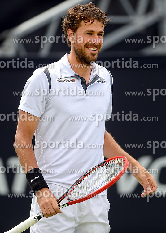 20150608 NED: Topshelf Open, Rosmalen<br /> Robin Haase (foto) (NED) in action vs Blaz Kavcic (SLO) in 1st Round of International Tennis Tournament De Topshelf Open 2015, on June 8, 2015 in Rosmalen, Netherlands. Haase won in two sets (6-2,7-5). Photo by Ronald Hoogendoorn / Sportida