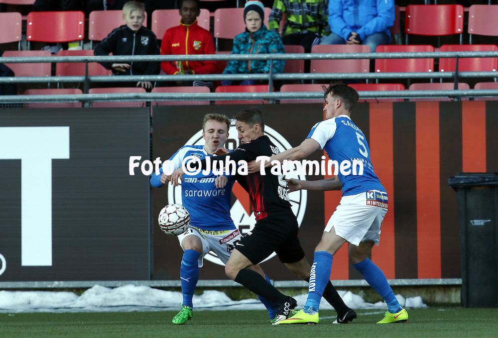 2.4.2016, Myyrm&auml;en jalkapallostadion, Vantaa.<br /> Veikkausliiga 2016.<br /> Pallokerho-35 Vantaa - Rovaniemen Palloseura.<br /> Lucas L&oacute;pez Garc&iacute;a (PK-35 Vantaa) v Aapo Heikkil&auml; &amp; Janne Saksela (RoPS).