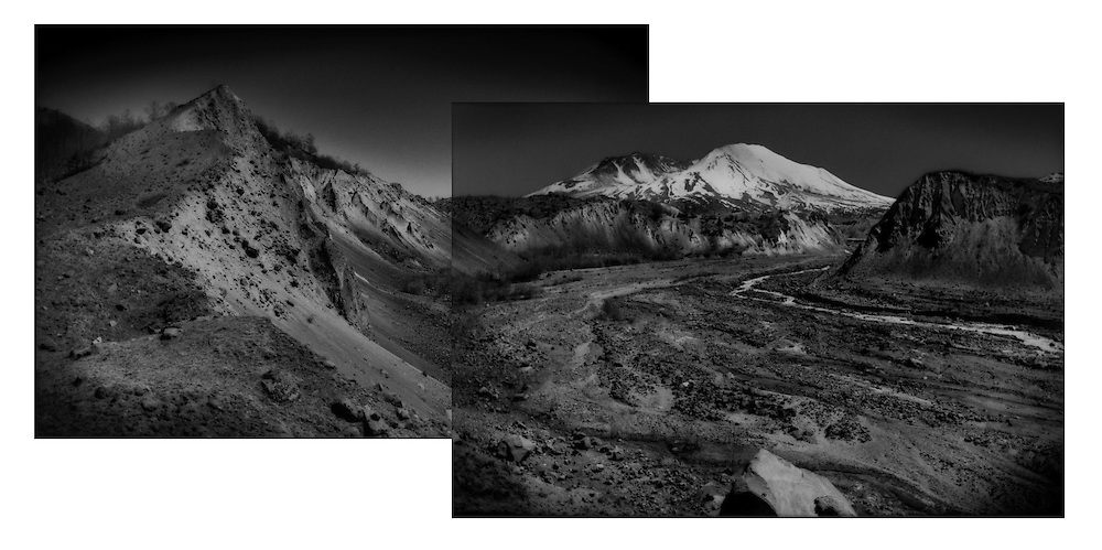 """Mt. St. Helens' lava dome is slowly rebuilding the mountain after the massive 1980 eruption literally blew the mountain core laterally out to the northwest.  The South Branch of the Toutle wends its way through the deep debris called """"hummocks"""".  All of this debris was once part of the volcano itself.  Some hummocks stand 500 ft  (152 m) high and dammed two rivers creating large lakes.  <br /> <br /> When Mt. St. Helens' glaciers melted, the newly released water carried this muddy volcanic debris racing down the valley in a great lahar mudflow, though lahars from a Mt. Rainier eruption would be far greater because the glaciers on that volcano are much more massive."""