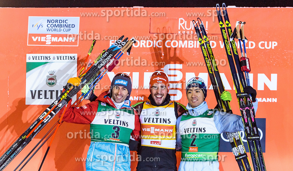 27.11.2016, Nordic Arena, Ruka, FIN, FIS Weltcup Nordische Kombination, Nordic Opening, Kuusamo, Langlauf, im Bild Wilhelm Denifl (AUT, 2. Platz), Sieger Johannes Rydzek (GER), Akito Watabe (JPN, 3. Platz) // 2nd placed Wilhelm Denifl of Austria, Winner Johannes Rydzek of Germany, 3rd placed Akito Watabe of Japan during Cross Country of the FIS Nordic Combined World Cup of the Nordic Opening at the Nordic Arena in Ruka, Finland on 2016/11/27. EXPA Pictures © 2016, PhotoCredit: EXPA/ JFK