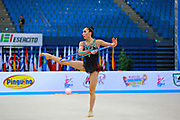 Pazhava Salome during qualifying at hoop in Pesaro World Cup at Adriatic Arena on 10 April 2015. Salome was born on September 3 1997 in Tbilisi. She is a Georgian individual rhythmic gymnast.