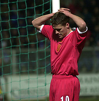 Photo. Richard Lane. <br />A.J. Auxerre v Liverpool. UEFA Cup. 20/02/2003<br />Michael Owen shows his dejection shortly before being substitiued.