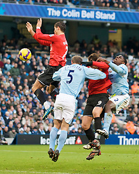 MANCHESTER, ENGLAND - Sunday, November 30, 2008: Manchester United's Christian Ronaldo handles the ball and is sent off for a second yellow card during the Premiership match against Manchester City at the City of Manchester Stadium. (Photo by David Rawcliffe/Propaganda)