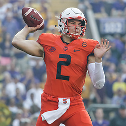 Sep 23, 2017; Baton Rouge, LA, USA; Syracuse Orange quarterback Eric Dungey (2) throws an interception on the first play from scrimmage during the first quarter of a game against the LSU Tigers at Tiger Stadium. Mandatory Credit: Derick E. Hingle-USA TODAY Sports
