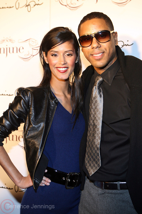 l to r: Jaslene Gonzalez and BJ Coleman at The Jermaine Dupri Birthday Celebrration held at Tenjune in New York City on September 23, 2008