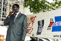 The ancestors of the first chosen president of Congo; Patrice Lumumba sew the Belgian state for the murder of Lumumba. François Lumumba is the oldest son of Lumumba, here with sons and supporters. Lawyer is Christophe Marchand. Brussels, Belgium,  23rd june 2011.