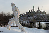 Randall Anderson  Zoom! sculpture on Alexandra Bridge with Parliament Hill and Ottawa Skyline in the background