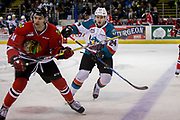 KELOWNA, CANADA - APRIL 08:  Kelowna Rockets center Kyle Topping #24, Portland Winterhawks center Jake Gricius #14 at the Kelowna Rockets game on April 08, 2017 at Prospera Place in Kelowna, British Columbia, Canada.  (Photo By Cindy Rogers/Nyasa Photography,  *** Local Caption ***