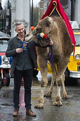 © Licensed to London News Pictures. 15/04/2016. GARY LINEKER brings Thailand, Morocco, India and New York to the streets of London to launch Walkers Spell & Go campaign where people collect letters in packs of crisps to be in with a chance of winning one of 20,000 holidays up for grabs.  London, UK. Photo credit: Ray Tang/LNP