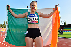 Orla Cromerford, IRE celebrating 3rd place in the T13, 100m at the Berlin 2018 World Para Athletics European Championships