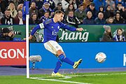 Marc Albrighton (11) takes a corner during the The FA Cup match between Leicester City and Wigan Athletic at the King Power Stadium, Leicester, England on 4 January 2020.