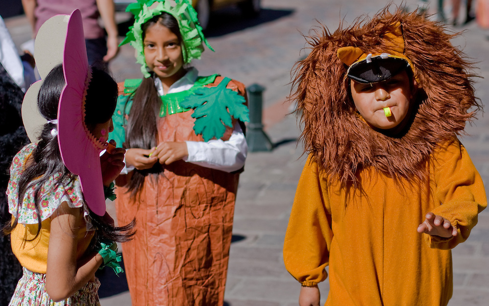 kids dress up as animals for World Earth day 2008 in Old town Quito, Ecuador