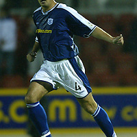 St Johnstone v Alloa..CIS Cup 1st Round...10.08.04<br />David Hannah celebrates getting a goal back<br /><br />Picture by Graeme Hart.<br />Copyright Perthshire Picture Agency<br />Tel: 01738 623350  Mobile: 07990 594431
