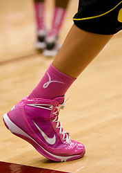 February 18, 2010; Stanford, CA, USA;  An Oregon Ducks player wears pinks shoes and socks as part of the Pink Zone game to raise cancer awareness before the game at Maples Pavilion.  Stanford defeated Oregon 104-60.