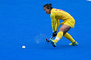Zixia Ou of China (16) during the Vitality Hockey Women's World Cup 2018 Pool A match between Korea and China at the Lee Valley Hockey and Tennis Centre, QE Olympic Park, United Kingdom on 29 July 2018. Picture by Martin Cole.