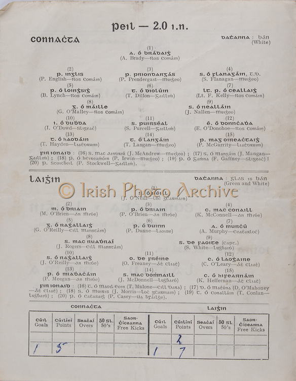 Interprovincial Railway Cup Football Cup Final,  17.03.1954, 03.17.1954, 17th March 1954, referee A Mac Giolla Cearr, Connacht 1-05, Leinster 1-07, Football Team Connacht, A Brady, P English, P Prendergast, S Flanagan, B Lynch, T Dillon, Lt F Kelly, G O'Malley, J Nallen, I O'Dowd, S Purcell, E O'Donohoe, T Hayden, T Langan, P McGarrity, Football Team Leinster, J O'Neill, M O'Brien, P O'Brien, K McConnell, G O'Reilly, P Dunne, A Murphy, J Rogers, S White, J O'Reilly, O Freaney, C O'Leary, P Meegan, J McDonnell, K Heffernan, .Interprovincial Railway Cup Hurling Cup Final,  17.03.1954, 03.17.1954, 17th March 1954, referee M S O Flairbeartaig, Leinster 0-09, Munster 0-05,