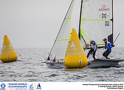 Aarhus, Denmark is hosting the 2018 Hempel Sailing World Championships from 30 July to 12 August 2018. More than 1,400 sailors from 85 nations are racing across ten Olympic sailing disciplines as well as Men's and Women's Kiteboarding. <br /> 40% of Tokyo 2020 Olympic Sailing Competition places will be awarded in Aarhus as well as 12 World Championship medals. ©JESUS RENEDO/SAILING ENERGY/AARHUS 2018<br /> 06 August, 2018.