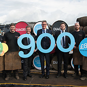 Diageo receives its accreditation as a Living Wage employer for it UK operations. It is the 900th company to achieve accreditation in Scotland. From left: apprentices Andrew Hunter, Calum Hendrie, Cabinet Secretary for Economy, Jobs &amp; Fair Work, Keith Brown MSP, David Cutter, President of Global Supply &amp; Procurement, Diageo, Jack Evans, Living Wage Foundation and apprentices Kevin Jolly and James Goldie. The barrel park, Alloa Cooperage, Diageo. 01 Sep 2017. <br /> Copyright photograph by Tina Norris. Not to be archived or reproduced without prior permission and payment. Contact Tina on 07775 593 830 info@tinanorris.co.uk www.tinanorris.co.uk http://tinanorris.photoshelter.com