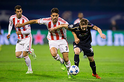 Alberto Botia #3 of Olympiakos and Marko Rog #30 of GNK Dinamo Zagreb during football match between GNK Dinamo Zagreb and Olympiakos in Group F of Group Stage of UEFA Champions League 2015/16, on October 20, 2015 in Stadium Maksimir, Zagreb, Croatia. Photo by Urban Urbanc / Sportida