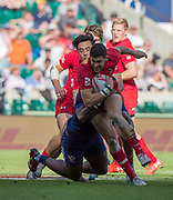 Twickenham, Surrey United Kingdom. CAnadian Justin DOUGLAS,, running with the ball during the  3/4 Playoff game USA vs Canada at the &quot;2017 HSBC London Rugby Sevens&quot;,  Sunday 21/05/2017 RFU. Twickenham Stadium, England    <br /> <br /> [Mandatory Credit Peter SPURRIER/Intersport Images]