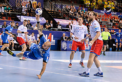 Igor Anic of Celje PL during handball match between Meshkov Brest and RK Celje Pivovarna Lasko in bronze medal match of SEHA- Gazprom League Final 4, on April 15, 2018 in Skopje, Macedonia. Photo by  Sportida