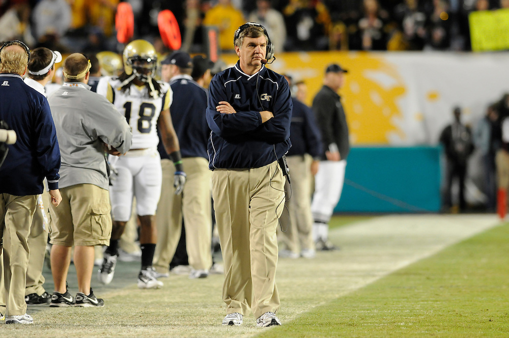 January 5, 2010: Head coach Paul Johnson of the Georgia Tech Yellow Jackets in action during the NCAA football game between the Georgia Tech Yellow Jackets and the Iowa Hawkeyes in the FedEx Orange Bowl at LandShark Stadium in Miami Gardens, Florida. The Hawkeyes defeated the Yellow Jackets 24-14.