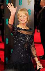 Helen Miirren waves as she arrives at the BAFTA Film Awards. London, United Kingdom. Sunday, 16th February 2014. Picture by Max Nash / i-Images