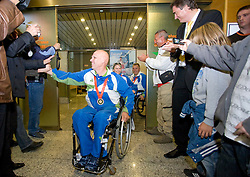 Joze Flere with silver (R), Mateja Pintar with bronze and  Franc Pinter (infront) with bronze paraolympic medal at welcome ceremony at Airport Joze Pucnik, on September 20, 2008, in Brnik, Slovenia. (Photo by Vid Ponikvar / Sportal Images)./ Sportida)