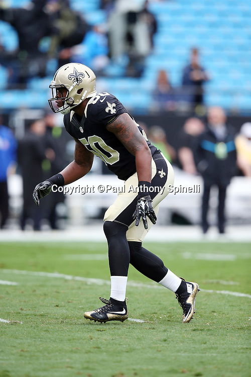 New Orleans Saints middle linebacker Stephone Anthony (50) chases the action during the 2015 NFL week 3 regular season football game against the Carolina Panthers on Sunday, Sept. 27, 2015 in Charlotte, N.C. The Panthers won the game 27-22. (©Paul Anthony Spinelli)