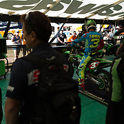 Eli getting ready for practice. Dan Fahie, Kawasaki Team Manager, told me Southwick was their most stressful race of the year. The sand and heat causing any number of potential breakdowns. That's the chief Showa suspension guru in the foreground.