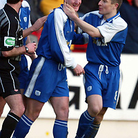 St Johnstone v Inverness Caley Thistle..  04.02.03<br />Chris Hay celebrates goal number one with Grant Murray<br /><br />Pic by Graeme Hart<br />Copyright Perthshire Picture Agency<br />Tel: 01738 623350 / 07990 594431