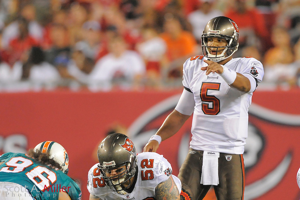 Tampa Bay Buccaneers quarterback Josh Freeman (5) during the Bucs against the Miami Dolphins at Raymond James Stadium on Aug. 27, 2011 in Tampa, Fla...(SPECIAL TO FOX SPORTS.COM/Scott A. Miller)