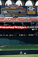 "ST. LOUIS, MO-SEPTEMBER 1998:   A large band-aid marks the spot where Mark McGwire #25 of the St. Louis Cardinals hit a 548 foot home run in Busch Stadium in St. Louis, Missouri during what has been called the ""Great Home Run Race of 1998"" between McGwire and Sammy Sosa of the Chicago Cubs.  They were both attempting to break the single season home run record of 61 held by Roger Maris since 1961.  (Photo by Ron Vesely)"