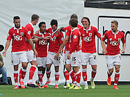 Greg Cunningham (4th left) of Bristol City celebrates scoring his sides second goal with his team mates  during the Sky Bet League 1 match at Ashton Gate, Bristol<br /> Picture by Tom Smith/Focus Images Ltd 07545141164<br /> 06/09/2014