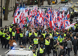 London, April 1st 2017. About 150 protesters from nationalist and anti-Islamic group Britain First demonstrate in London following the Westminster terror attack of March 22nd.
