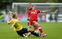 Jodie Brett of Bristol City Women tackles Rosie Lane of Oxford United - Mandatory by-line: Robbie Stephenson/JMP - 25/06/2016 - FOOTBALL - Stoke Gifford Stadium - Bristol, England - Bristol City Women v Oxford United Women - FA Women's Super League 2