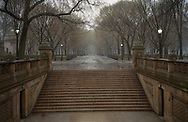The stairs of Bethesda Terrace and The Mall on a rainy day in Central Park, New York City