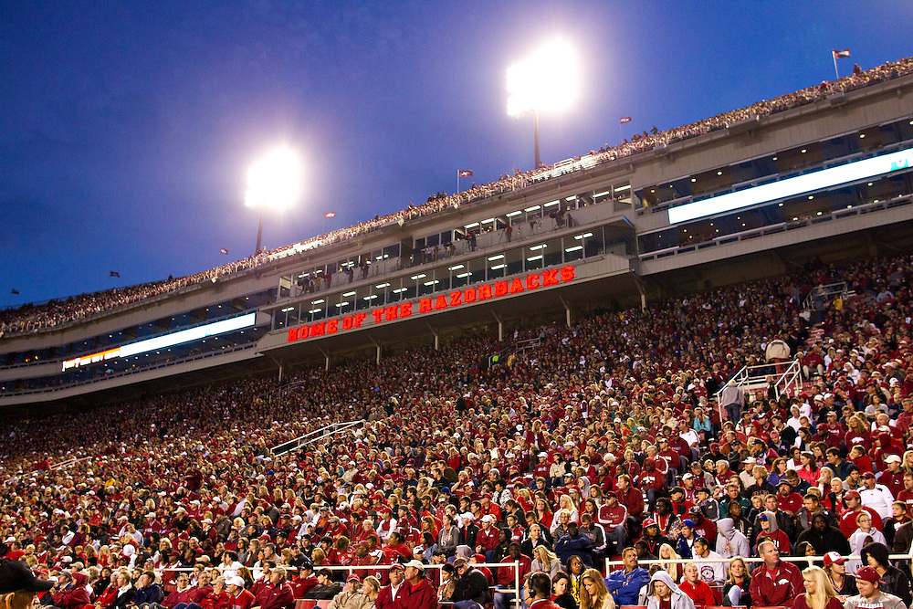 FAYETTEVILLE AR - SEPTEMBER 17:  Arkansas Razorback fans during a game against the Troy Trojans at Donald W. Reynolds Razorback Stadium on September 17, 2011 in Fayetteville, Arkansas.  The Razorbacks beat the Trojans 38 to 28.  (Photo by Wesley Hitt/Getty Images) *** Local Caption ***