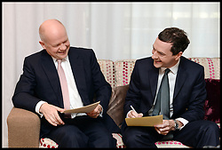 Image ©Licensed to i-Images Picture Agency. 28/09/2014. Birmingham, United Kingdom.  William Hague with George Osborne  backstage before delivering his last conference speech on  Day one of the  Conservative Party Conference.Picture by Andrew Parsons / i-Images