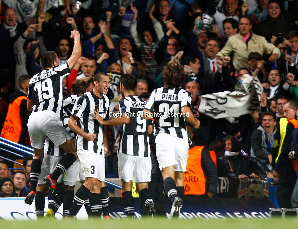 19.09.12 London, ENGLAND: <br /> Fabio Quagliarella of Juventus F.C. celebrates his goal<br /> during the UEFA Champions League Group E match between Chelsea and  Juventus at Stamford Bridge Stadium