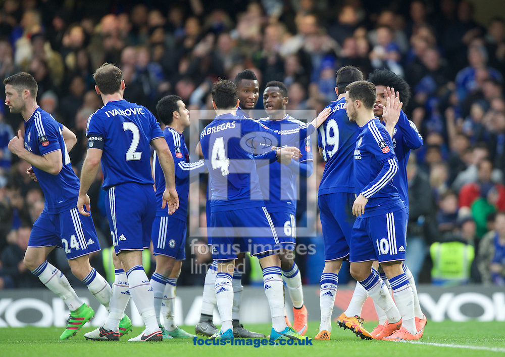 Chelsea players celebrate their goal during the FA Cup match at Stamford Bridge, London<br /> Picture by Alan Stanford/Focus Images Ltd +44 7915 056117<br /> 21/02/2016