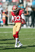 San Francisco 49ers cornerback Rashard Robinson (33) dances and celebrates after stripping the ball and causing a fumble at the Carolina Panthers 31 yard line in the fourth quarter during the 2017 NFL week 1 regular season football game against the Carolina Panthers, Sunday, Sept. 10, 2017 in Santa Clara, Calif. The Panthers won the game 23-3. (©Paul Anthony Spinelli)